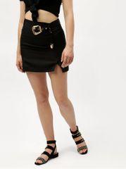 MISSGUIDED černá sukně s páskem a detaily ve zlaté barvě