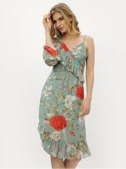 MISSGUIDED zelené asymetrické květované šaty s volány