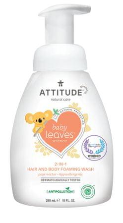 Attitude pena za otroško kopel (2v1) Baby leaves, z vonjem hruške, 295 ml