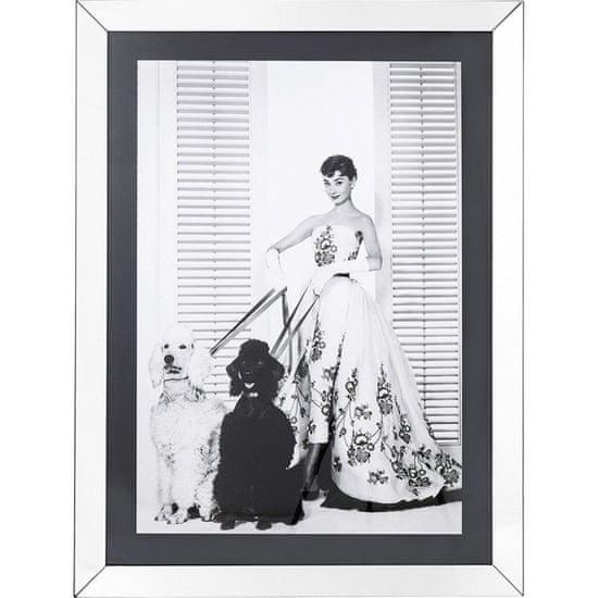 KARE Černobílý obraz Audrey Hepburn s pudly