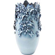 KARE Vysoká modrá kameninová váza Butterflies 50 cm