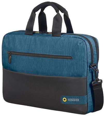 """American Tourister torba za prenosni računalnik City Drift Laptop Bag 15,6"""" (33,7 cm), 28G*19004, črna/modra"""