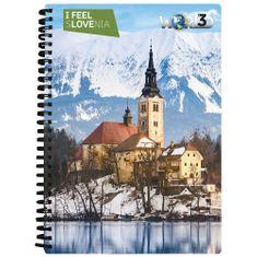 World 3D I Feel Slovenia notebook A5 80L– Bled, spirala