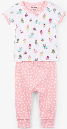 Hatley dívčí letní pyžamo 62 bílá/růžová