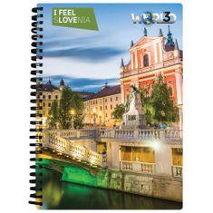 World 3D I Feel Slovenia notebook A5 80L – Ljubljana, spirala