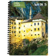 World 3D I Feel Slovenia notebook A5 80L – Predjamski grad, spirala