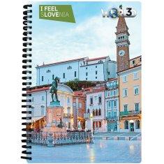 World 3D I Feel Slovenia notebook A6 50L– Bled, spirala