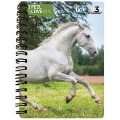World 3D I Feel Slovenia notebook A6 50L – lipicanec, spirala