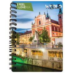 World 3D notebook I Feel Slovenia A6 50L – Ljubljana, spirala
