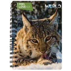 World 3D I Feel Slovenia notebook A6 50L – ris, spirala
