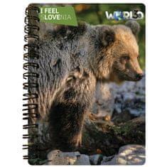 World 3D I Feel Slovenia notebook A6 50L, spirala – rjavi medved