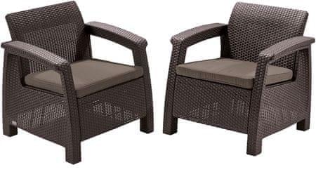 Allibert 2-delni komplet stolov Corfu Duo, z blazinami, rjav