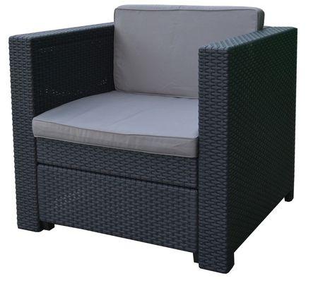 Allibert Provence vrtna fotelja + jastuk, siva
