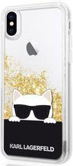 Karl Lagerfeld Choupette Sunglass TPU Pouzdro Gold pro iPhone X / XS KLHCPXCHPEEGO