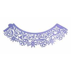 PME Ozdobný límec na košíčky fialový květinový 12ks
