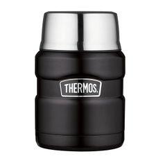 Thermos Style Termoska na jedlo sa skladateľná lyžicou a šálkou - matne čierna 470 ml