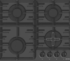 Gorenje plinska ploča za kuhanje GT641B, kaljeno staklo