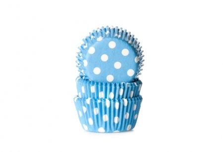 Cukrářský košíček mini světle modrý puntíkovaný 60ks