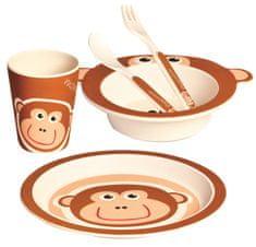 Bino Dětské nádobí z bambusu, 5 dílů, Opička