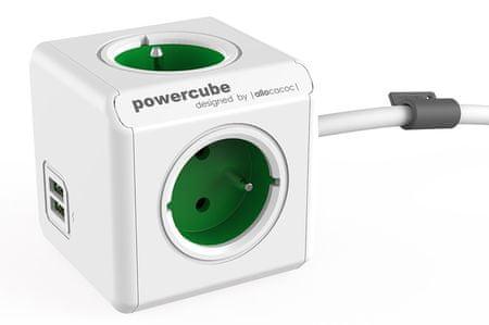 Allocacoc PowerCube Extended USB Schuko (Green)