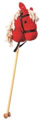 Bino Koňská hlava na tyči - červený manšestr