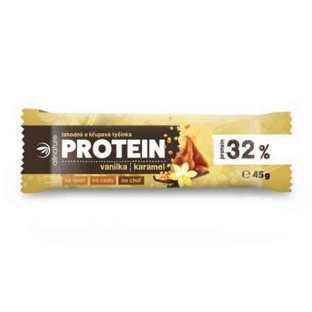 Allnature Proteínová chrumkavá tyčinka 32% vanilka a karamel 45 g