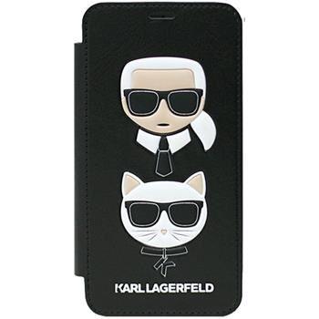Karl Lagerfeld Karl and Choupette Book Pouzdro Black iPhone X KLFLBKPXKICKC számára