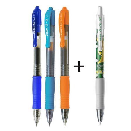 Pero gelové Pilot 2605 G2 0,7 modré, šedomodré, oranžové + Pero gelové Pilot 2605 G2 edice Mika zelené