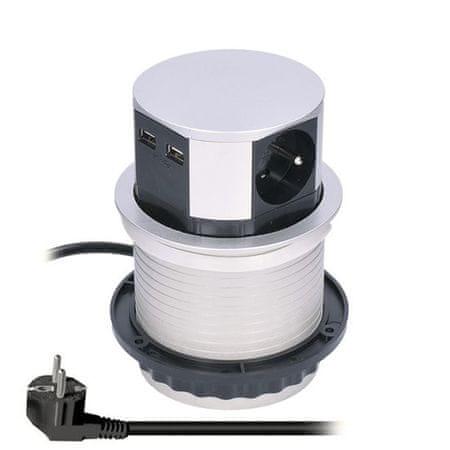 Solight kihúzható blokk, 3 konnektor, 2x USB, alacsony kör alakú, 1,5 m hosszabbító kábel, 3 x 1mm2, ezüst