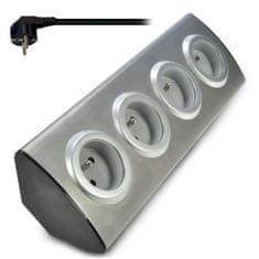 Solight przedłużacz narożny, przewód 1,5 m, 3 x 1 mm2, srebrny