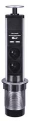 Solight Dvě zásuvky + USB výsuvný blok, plast, kruhový tvar, prodlužovací přívod 1,5m, 3 x 1mm2, stříbrný