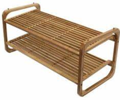 Compactor stojak na buty UGO 2-piętrowy, z naturalnego drewna bambusowego, regulowany