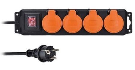 Solight przedłużacz IP44, 4 gniazda, wyłącznik, zewnętrzny, 10m