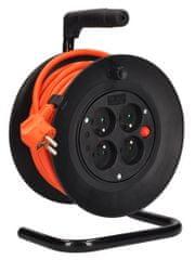 Solight Predlžovací oranžový kábel na bubne, 3 × 1,5 mm^2, 4× zásuvka, 15 m (PB23O)