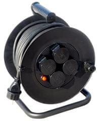 Solight przedłużacz na bębnie, zewnętrzny, 4 gniazdka, czarny, 25 m