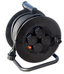 Solight prodlužovací přívod na bubnu, venkovní, 4 zásuvky, černý, 50m