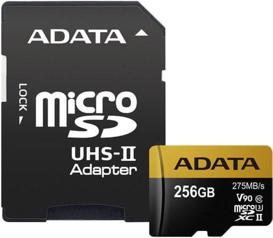 A-Data microSDXC Premier One 256GB UHS-II U3 + SD adaptér (AUSDX256GUII3CL10-CA1)