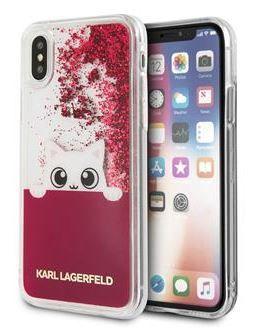 Karl Lagerfeld Peek a Boo Liquid Glitter Pouzdro Fushia pro iPhone X KLHCPXPABGFU