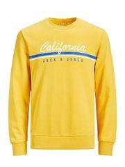 Jack&Jones Pánska mikina Jorretro Cali Sweat Crew Neck Yol Yellow Reg