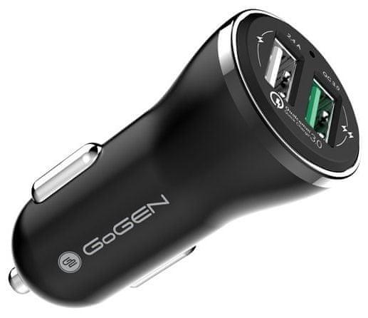 GoGEN Rychlonabíječka do auta CHQ 27 W, Qualcomm Quick Charge 3.0, 2× USB, černá