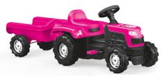 DOLU traktor Ranchero s prikolico na pedala, roza