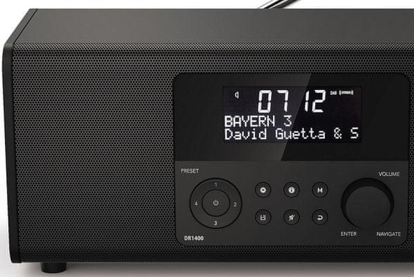 moderní radiopřijímač hama dr1400 fm dab dab plus předvolby relaxace s hudbou tlačítka přímé volby
