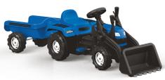 DOLU traktor Ranchero s prikolico in nakladalko na pedala, moder