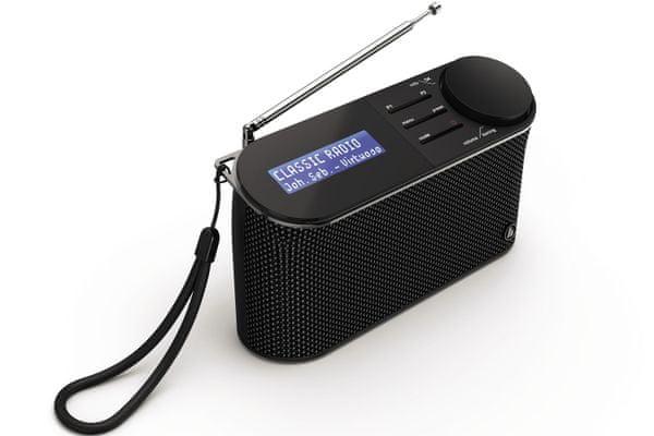 digitální rádio hama dr15 ovládání tlačítky výkon 1 W hodiny baterie výdrž až 30 h