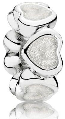 Pandora Oddzielający koralik z białymi sercami 791775EN23 srebro 925/1000