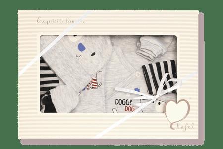 Lafel chlapčenský darčekový komplet Doggy dog 62 sivá