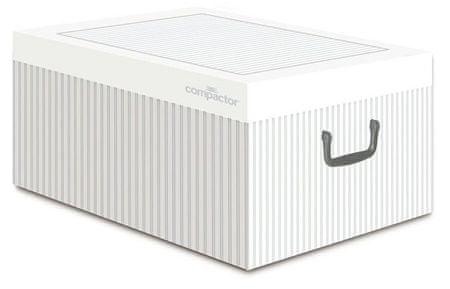 Compactor Anton skladacia úložná krabica - kartón, biela/sivá