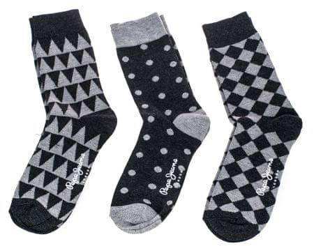 Pepe Jeans trojité balení pánských ponožek Vern 38 - 42 černá