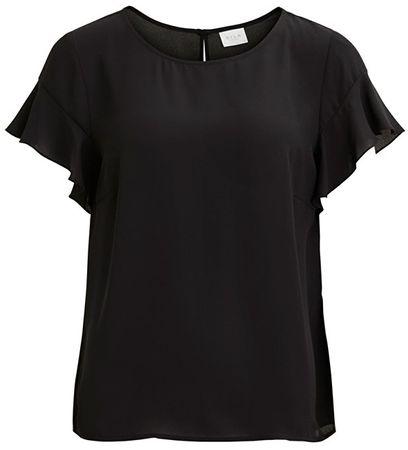 VILA Női blúzLucy S/S Flounce Top-Noos Black (méret S)