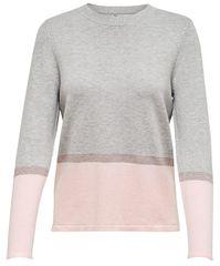 ONLY Dámsky sveter Camellia L/S Pullover Knt Light Grey Melange
